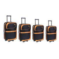 Travel's - Set de 4 Valises Souple 8 Roues 51-61-71-81cm New Africa Noir et Orange