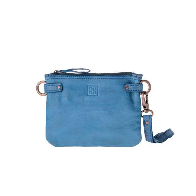 9fca22f958 Dudu - Sac pochette en cuir lavé avec anse de poignée et bandoulière Dudu  Agata Blue