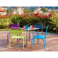 Salon De Jardin - Ensemble Table Chaise Fauteuil De Jardin Ensemble table  de jardin et 4 chaises en acier pour enfant