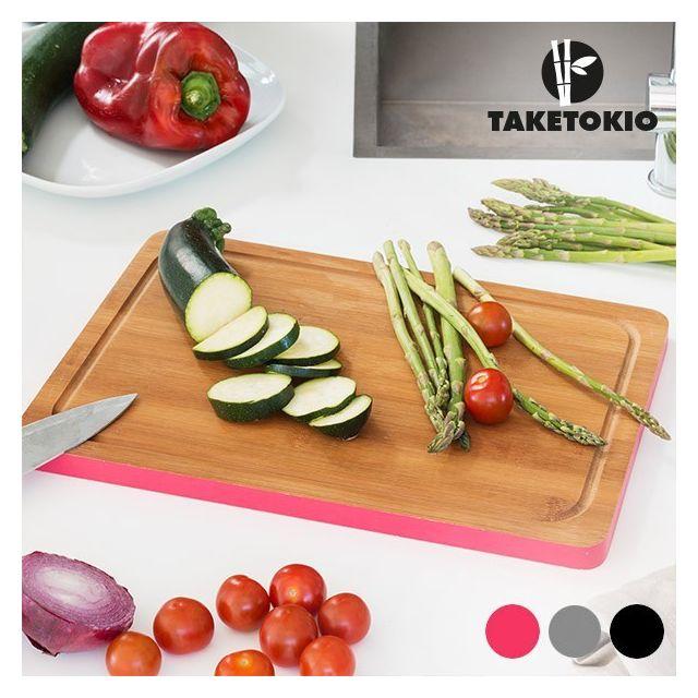 Totalcadeau Planche de Cuisine de forme Rectangulaire en Bambou Couleur - Gris