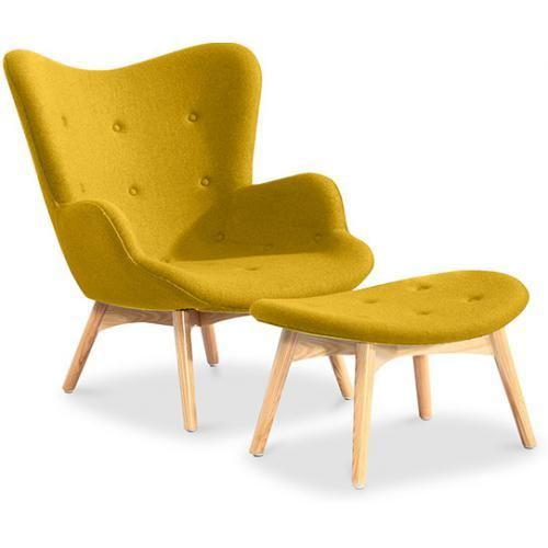 privatefloor fauteuil avec repose pieds contour design scandinave grant featherston style jaune - Fauteuil Scandinave Avec Repose Pied