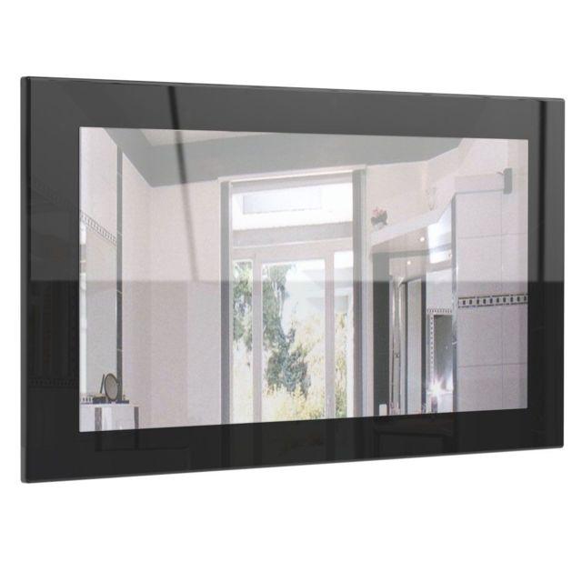 Mpc Miroir laqué haute brillance noir 89 cm
