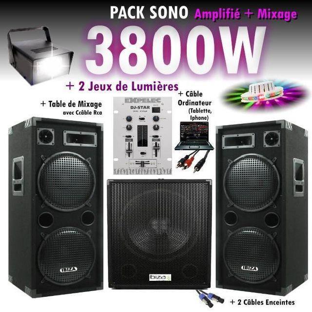 Ibiza Sound Pack dj sono mixage dj 3800w avec 1 caisson - 2 encentes - pieds - cables - jeux de lumières led pa dj led light sound