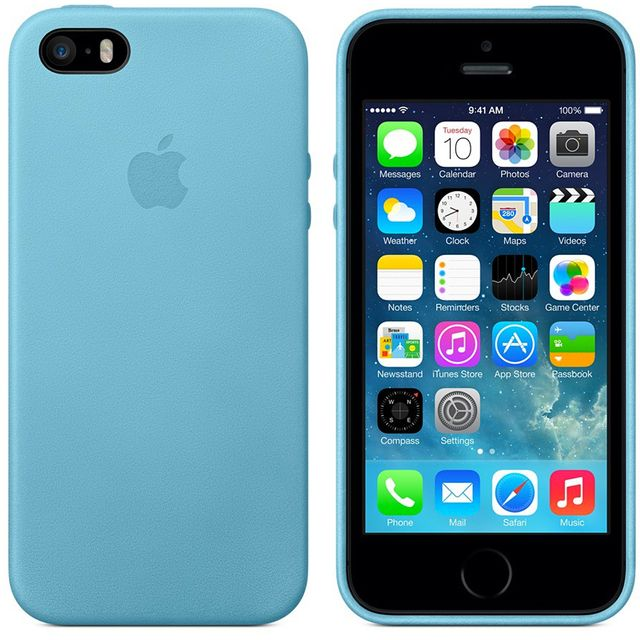 c40a6610980d Apple - Coque Cuir origine Apple iPhone 5 et 5S coloris bleu Mf044FE A