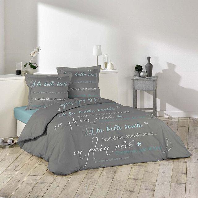 douceur d 39 interieur housse de couette 220x240 100 coton belle etoile 2 taies blanc gris. Black Bedroom Furniture Sets. Home Design Ideas