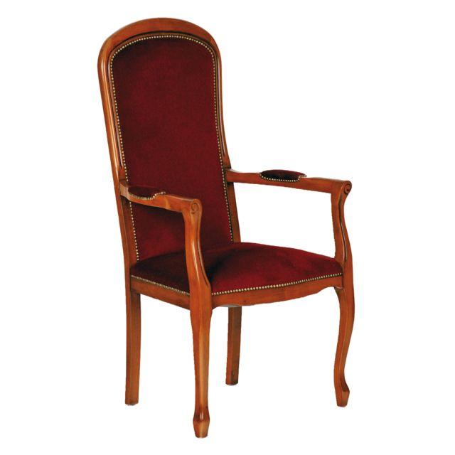 Marque Generique Voltaire assise haute velours bordeaux en hêtre massif teinté merisier