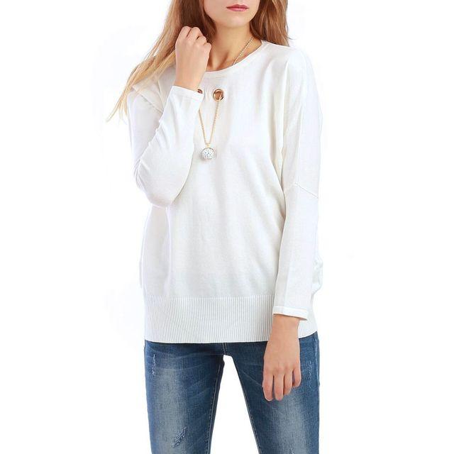 bb7c3cfdeb466 La Modeuse - Pull blanc avec collier intégré - pas cher Achat ...
