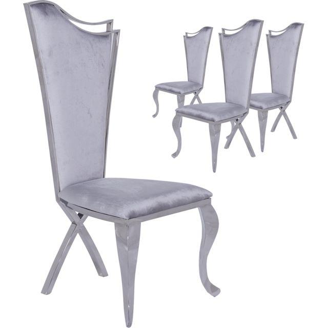 4 Chaises Baroque Velours C Skemp Design De Lot Poli Gris Inoxydable Collection En X Pied Acier Et Cm L54 H117 Recouvrement P49 tdhrsQ