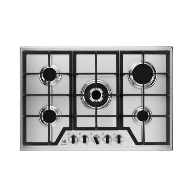 electrolux table de cuisson gaz 75cm 5 feux inox kgs7536x achat plaque de cuisson gaz. Black Bedroom Furniture Sets. Home Design Ideas