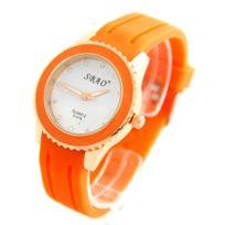 Sbao Femme - Montre Femme Silicone Orange 2162