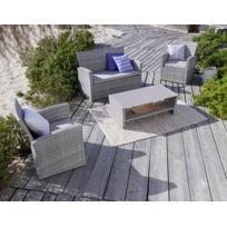Salon de jardin résine tressée gris - Achat Salon de jardin résine ...