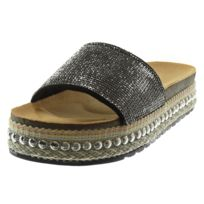 Angkorly - Mule Sandale slip-on - strass diamant clouté liège