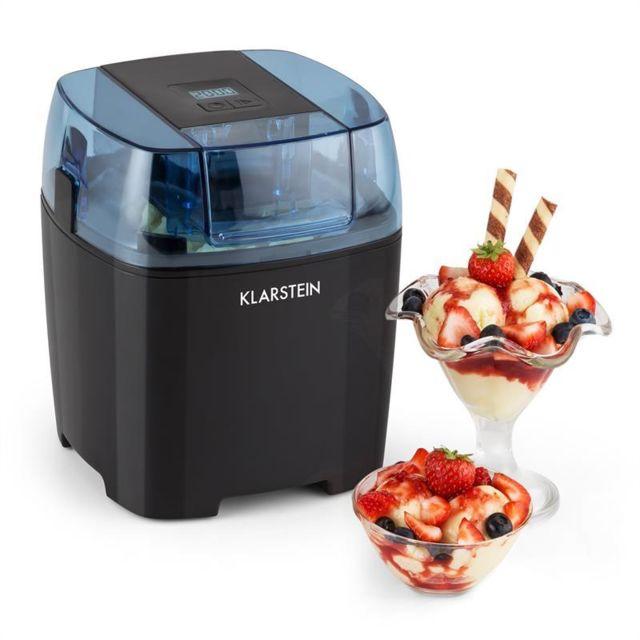 KLARSTEIN Creamberry Machine à glace Bac isotherme Machine à frozen yogourt 1,5L noir