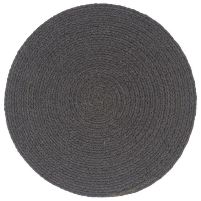 Icaverne - Sets de table reference Napperons 6 pcs Gris foncé Plain 38 cm Rond Coton