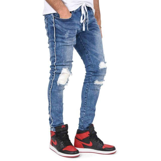 67582e0e088b7 Project X - Jean skinny doublure biker et ceinture lacet. Couleur : Bleu