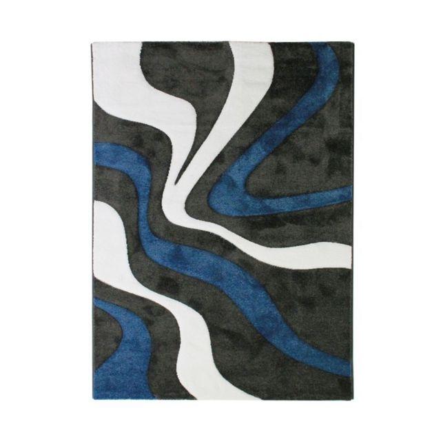 Mon Beau Tapis Ruby Vagues - Tapis à motifs vagues bleu 200x290