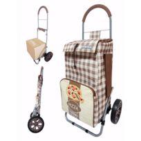 BO TIME - Chariot de courses pliable avec poche isotherme et poche porte parapluie - Capacité 43L
