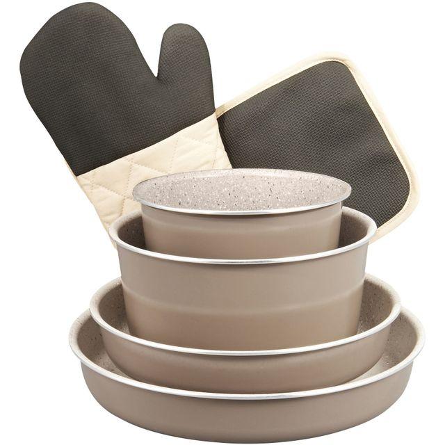CARREFOUR HOME Batterie de cuisine - 8 pièces - Aluminium - Effet pierre