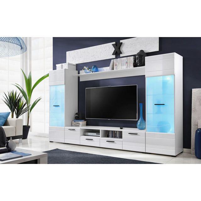 Dusine Meubles Switch 260 cm Blanc laqué avec vitrines Led multicolore
