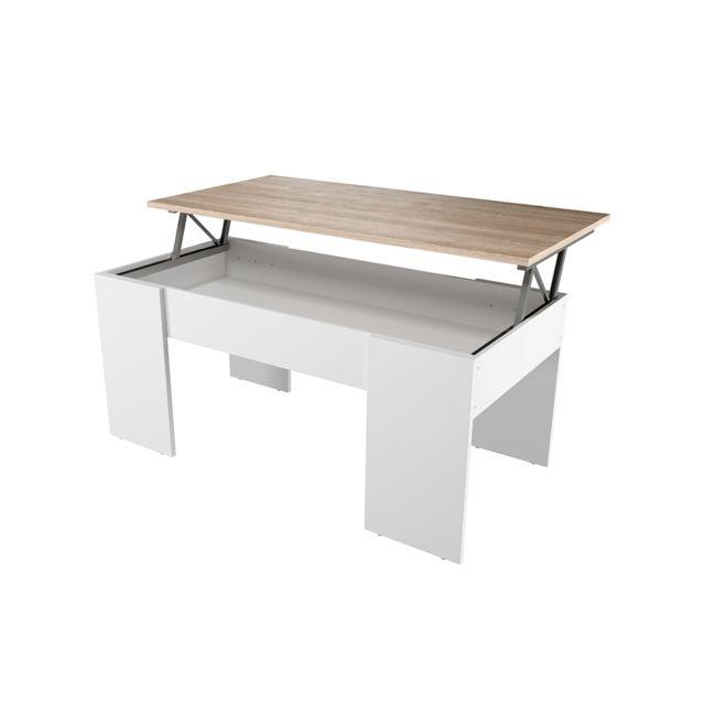 USINESTREET Table basse GOTHAM avec plateau relevable et rangement - Couleur - Blanc / Bois
