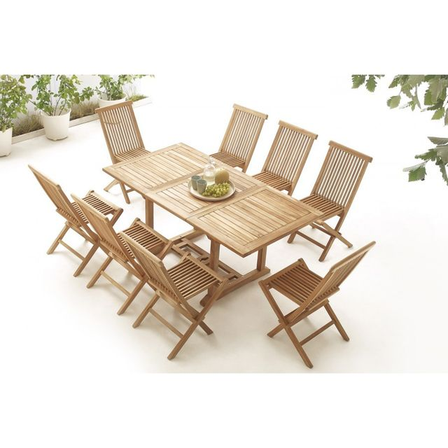 Bobochic Table rectangle 8 chaises Teck Brut Massif