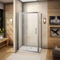 Marque Generique - Cabine de douche 100x70x185cm porte de douche coulissante  en verre securitavec une paroi 76ee487c9952