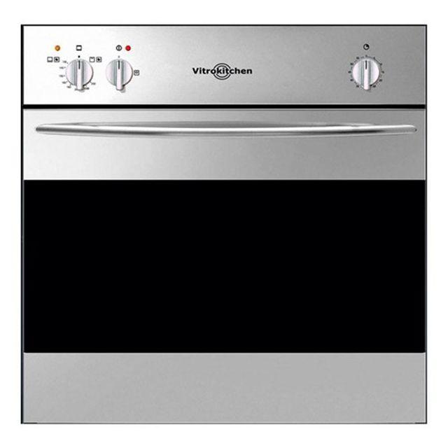 Totalcadeau Four intégrable au gaz avec grill 50 L Noir en acier inoxydable - Facile à nettoyer 59,4 x 59,4 x 53,5 cm