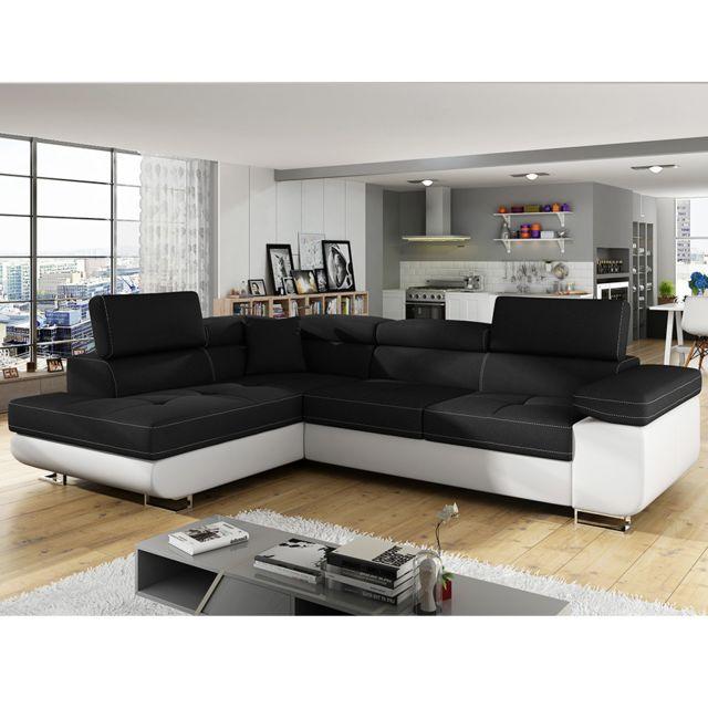 b79c2884d235f Kasalinea - Canapé d angle convertible noir et blanc Liam 5 - Méridienne à  gauche