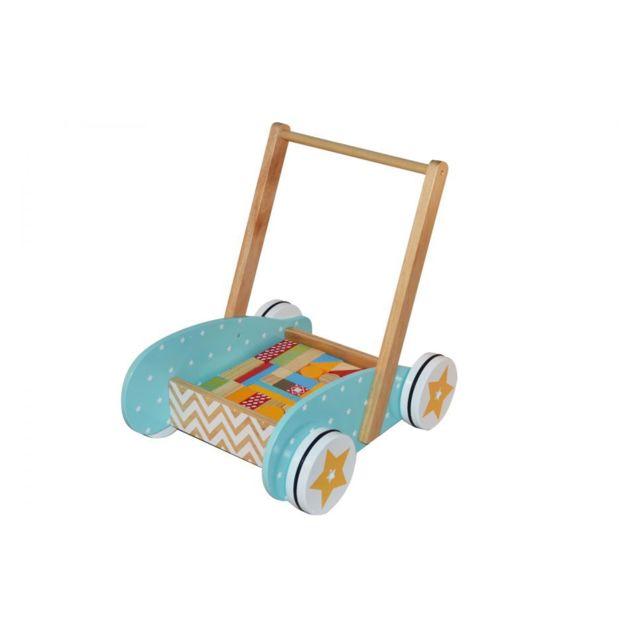 Betoys Chariot en bois bleu + 40 blocs de construction