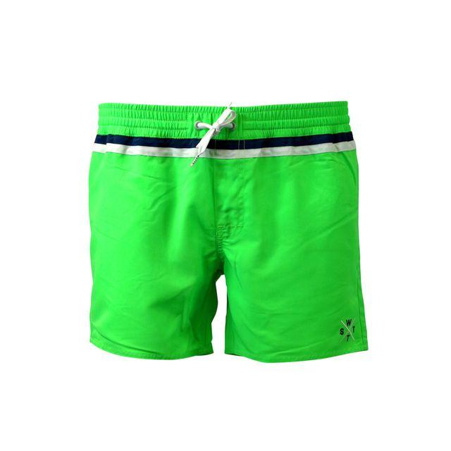 Watts - Short de bain Homme Cryds Vert Fluo - pas cher Achat   Vente Shorts efe96a58227