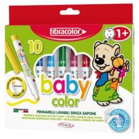Fibracolor - feutre coloriage pointe moyenne bebe assorti - boite de 10