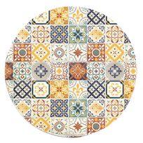 Mon Beau Tapis - Tapis rond motifs carreaux de ciment jaune diam. 60cm Toodoo