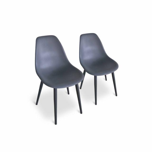 ALICE'S GARDEN Lot de 2 chaises scandinaves PADAR, en métal et résine injectée gris foncé, intérieur/extérieur