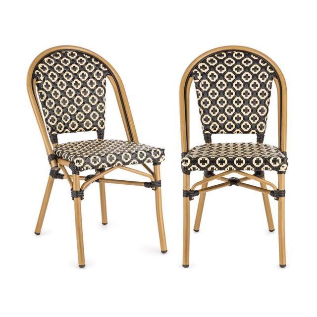 BLUMFELDT Montbazin BL chaises empilable cadre aluminium polyrotin noire-crème