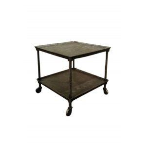decoshop petite table d 39 appoint industrielle roulettes noir 60cm x 55cm x 60cm pas cher. Black Bedroom Furniture Sets. Home Design Ideas