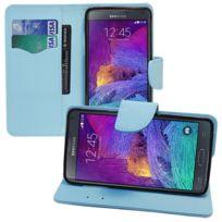 Vcomp - Housse Coque Etui portefeuille Support Video Livre rabat cuir Pu effet tissu pour Samsung Galaxy Note 4 Sm-n910F/ Note 4 Duos Dual Sim, N9100/ Note 4 CDMA, / N910C N910W8 N910V N910A N910T N910M - Bleu