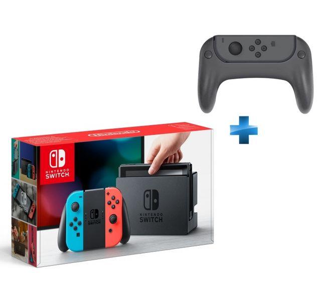 NINTENDO - Console Switch avec un Joy-Con rouge néon et un Joy-Con bleu néon + Ensemble de 2 grips pour joystick et 2 poignées pour les joy-con de la Switch