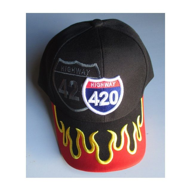 Universel Casquette highway 420 noir flamme orange homme biker usa