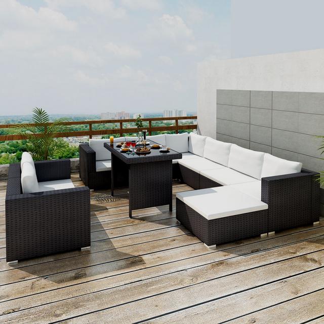 VIDAXL - Mobilier de jardin avec 28 pièces Noir Rotin - pas cher ...