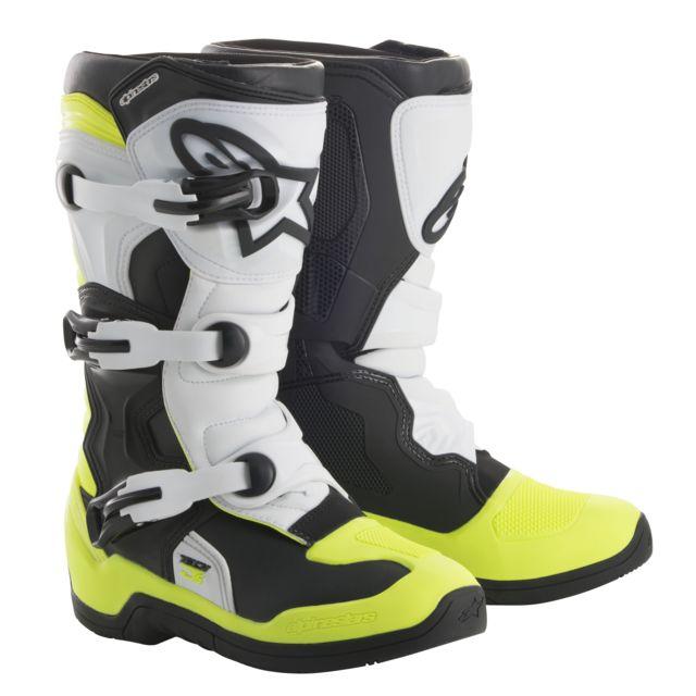 économiser f0958 18756 Bottes Moto Cross Tech 3 S Black White Yellow Fluo Enfant-40.5