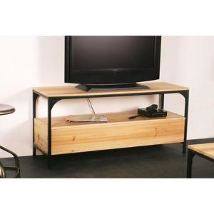 finlandek meuble tv teollinen 120 cm en mtal et bois massif - Meuble Tv Hifi Bois Massif