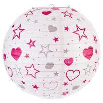 Atmosphera - Lanterne boule imprimée - Diam. 35cm Fuschia