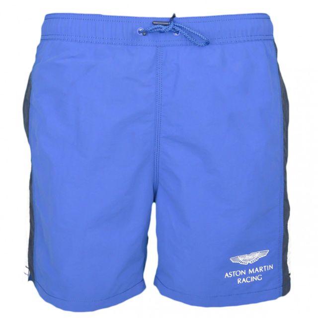 Hackett Short de bain Aston Martin bleu avec bandes blanches et noires pour homme