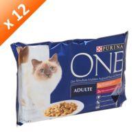Purina One - One Sachet avec effilés en sauce au boeuf et carottes - 4x85g x12 Pour chat