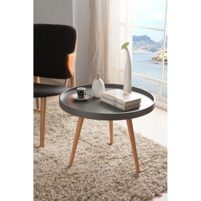 Ma Maison Mes Tendances Table basse ronde diamètre 78cm en bois laqué gris semi-mat et chêne Rudy - L 78 x H 45
