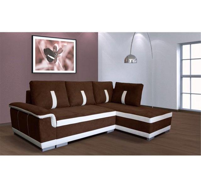 CHLOE DESIGN Canapé d'angle convertible Amelie - microfibre - chocolat blanc - Angle droit