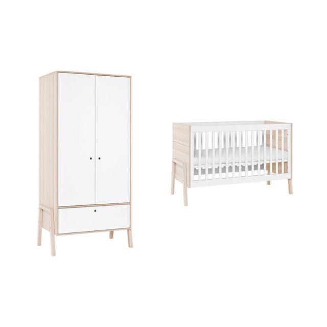 vox pack lit b b 60x120 armoire blanc et bois clair collection spot matelas 70cm x nccm. Black Bedroom Furniture Sets. Home Design Ideas