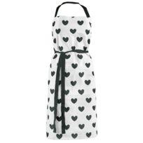 Miss Etoile - Tablier en coton Gros Cœurs - Noir et blanc