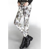 Go Tendance - Pantalon slim imprimé fleurs et papillons