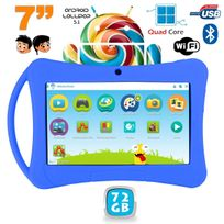 Yonis - Tablette enfant 7 pouces Android 5.1 Bluetooth Quad Core 72Go Bleu